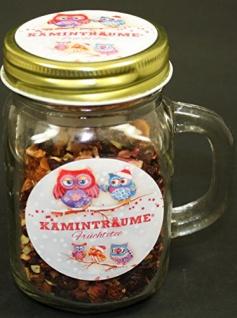 Teeglas gefüllt mit Kaminträume Tee Mischung mit Deckel 100g