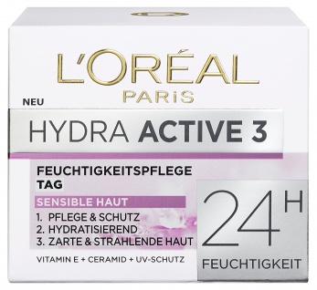 L'Oreal Paris Hydra Active 3 Tagespflege, spendet intensiv Feuchtigkeit, 50 ml