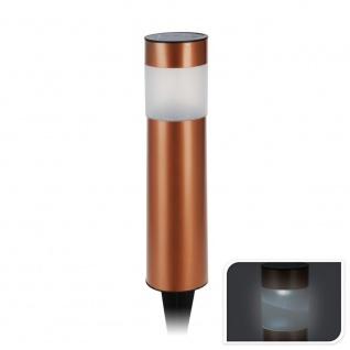 LED Solarleuchte rund Bronze Kunststoff Bodenspieß Solarlampe