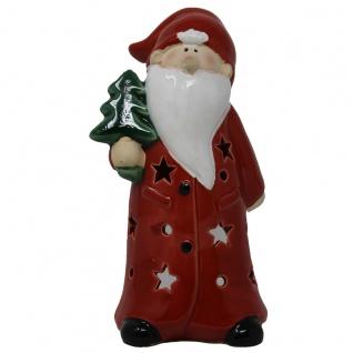 Weihnachtsmann Windlicht Teelicht rot mit Weihnachtsbaum Höhe 19cm