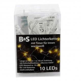 Lichterkette 10 LED mit Zeitschaltfunktion Batterie für Innen