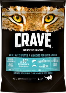 Crave Trockenfutter für Katzen Adult mit Lachs und Weissfisch 750g