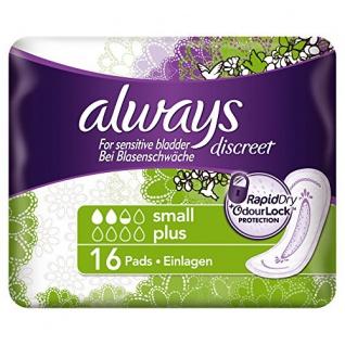 Always Discreet Inkontinenz Einlagen Small Plus bei Blasenschwäche, 16 Stück