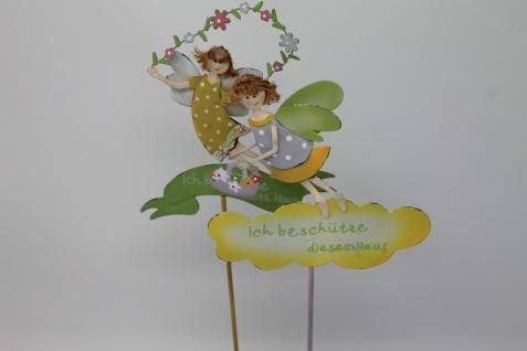 Blumentopfstecker aus Metall mit gelben Schild und zwei Elfen