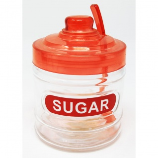 Zuckerdose rot mit Löffel und Deckel aus Kunststoff Höhe 11cm