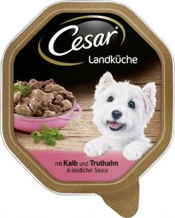 Cesar Nassfutter Landküche mit Kalb und Truthahn in Sauce 150g