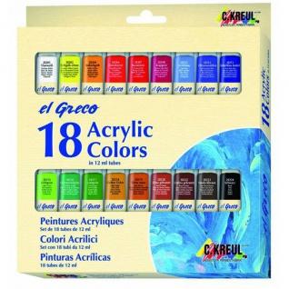 Kreul Acrylfarben El Greco auf Wasserbasis schnell trocknent 18er Set