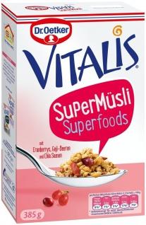 Vitalis Super Müsli 30% Protein mit Cranberrys GojiBeeren und ChiaSamen 385g