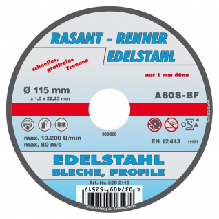 Rasant Renner Edelstahl Bleche Profile Trennscheibe 115 x 1.0 x 22.3mm