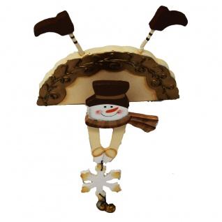 Kantenaufsteller Figur Schneemann Holz mit beweglichen Armen