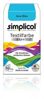 """Simplicol Textilfarbe expert -Für kreatives, einfaches Färben - 17010 """" Azur-Blau"""" Neu!"""