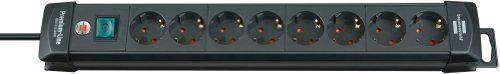 Brennenstuhl Premium-Line, Steckdosenleiste 8-fach (Steckerleiste mit Schalter und 3m Kabel - 45° Winkel der Schutzkontakt-Steckdosen) Farbe: schwarz