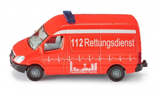 SIKU Krankenwagen aus Metall und Kunststoff in Rot Bereifung aus Gummi