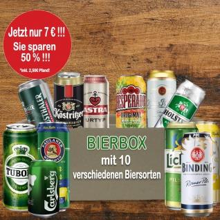 Bier Box mit 10 Bierdosen für nachhaltiges Einkaufen zum Sonderpreis