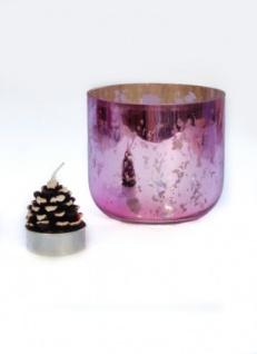 Windlicht Teelichthalter rosa Gold gesprenkelt 10x9cm 1 Stück