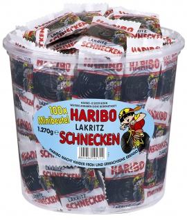 Haribo Lakritz Schnecken Minibeutel in der Vorratsdose 100 Stück