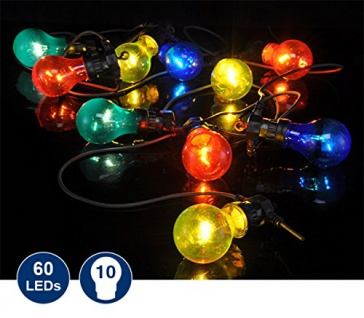 LED Partylichterkette mit 10 bunten Lampen 7, 5m in Glühlampen Optik 50012