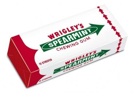 Wrigley's Spearmint Kaugummi mit erfrischenden Minzgeschmack 15 Streifen