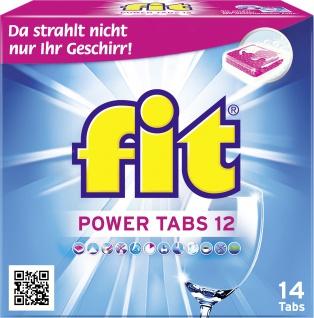 fit Power Tabs 12 Geschirrspültabs mit Glarspüler und Salz 14 Tabs