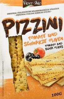Fiore Mio Pizzini Gebäckstangen Tomaten und Schwarze Oliven 100g
