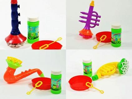 Seifenblasen Instrument 4-fach sortiert Klarinette, Saxophon, Trompete, Horn,