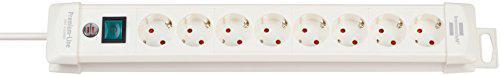 Brennenstuhl Premium-Line, Steckdosenleiste 8-fach (Steckerleiste mit Schalter und 3m Kabel - 45° Winkel der Schutzkontakt-Steckdosen) Farbe: weiß
