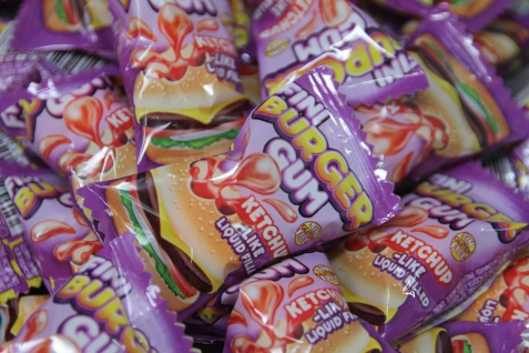 Bubble Gum Boom Kaugummi Burger mit flüssiger Füllung einzeln 5g