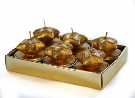 Teelicht weihnachtliches Desgin Goldener Stern mit Glitzer 6er Set