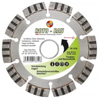 Disc Dia Scheibe Roto Bau für Trocken und Nassschnitt 125x10x22.2 mm