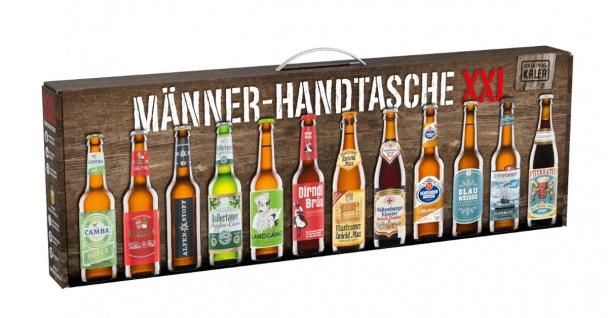 Kalea Männer Handtasche XXL mit 12 Bierspezialitäten in der Box