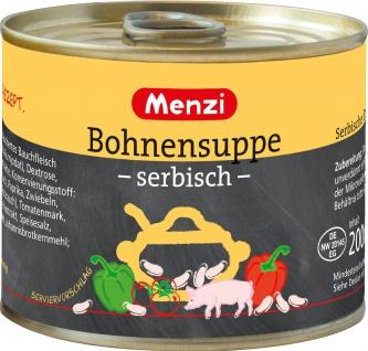 Menzi Serbische Bohnensuppe pikant gewürzt mit weißen Bohnen 200g