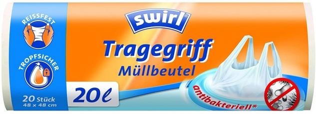 Swirl Tragegriffmüllbeutel 20 Liter reißfeste Folie 2er Pack