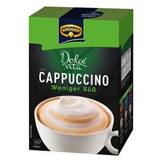 Krüger Dolce Vita Cappuccino, Weniger Süß, Milchkaffee, Milch Kaffee aus löslichem Bohnenkaffee, 10 Portionsbeutel