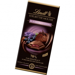 Lindt Edelbitter Mousse Blaubeere Lavendel Schokoladentafel 150g