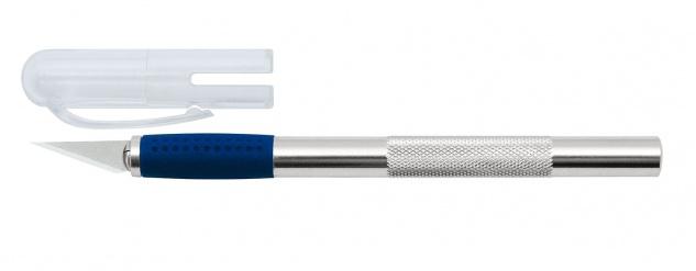 WEDO Metall Skalpell inklusive 3 Metall Ersatzklingen Silber Blau