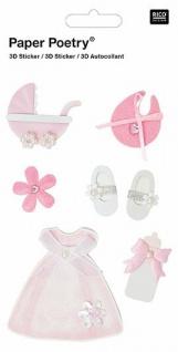 3D-Sticker Zur Geburt Pink