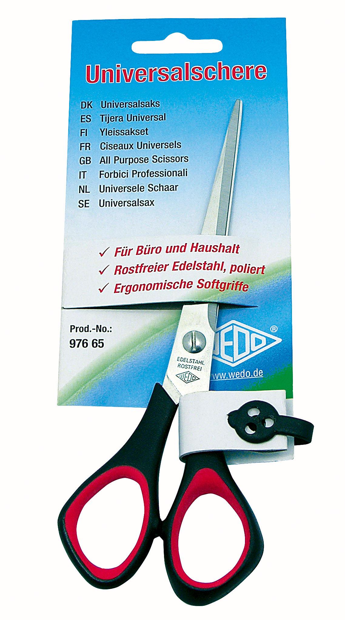 Wedo Universalschere Für Linkshänder Softgriff 21 Cm Bastel Schere Spitz