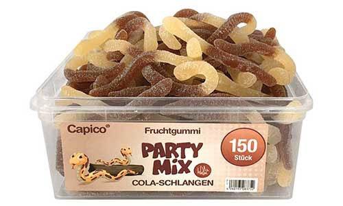 Capico Fruchtgummi Party Mix Cola Schlangen Dose mit Rindergelatine