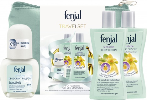 fenjal Geschenk Travel Set Body Lotion Creme Dusche Creme Deo Roll on