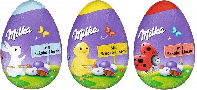 Milka lustiges Oster Ei Schokolinsen Alpenmilch Schokolade 50g