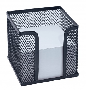 WEDO Zettelbox Office Drahtmetall inklusive Papier 92 x 92mm Schwarz