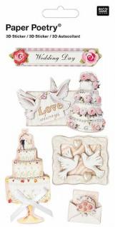 3D-Sticker Hochzeit mit Torte