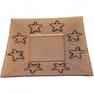 Glasuntersetzer Servierplatte Bronze Sternendekoration 1Stück