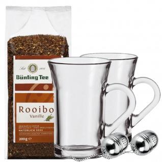 Tee Set bestehend aus 2 Teegläsern 2 Teeeier und 1 Rooibos Tee 200g