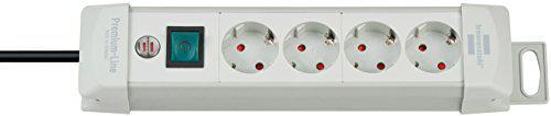 Brennenstuhl Premium-Line, Steckdosenleiste 4-fach (Steckerleiste mit Schalter und 1, 8m Kabel - 45° Anordnung der Steckdosen) Farbe: lichtgrau