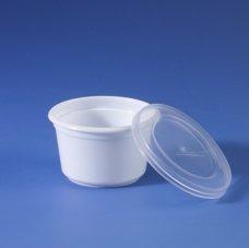 Portionsbecher PS mit Deckel PE rund 28ml weiß transluzent 100 Stück