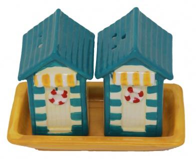 Salz und Pfefferstreuer als Strandhäuschen in der Farbe Blau Gelb