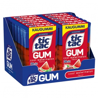 tic tac Gum cool Wassermelone Kaugummi mit Minzgeschmack 17g 12er Pack
