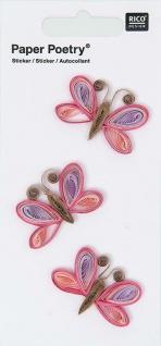 Quilling Sticker rosa Schmetterlinge
