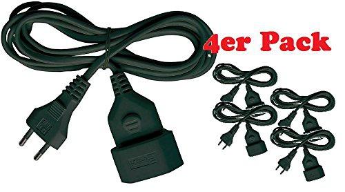 4x Brennenstuhl Kunststoff-Verlängerungskabel 5m schwarz, 1161800